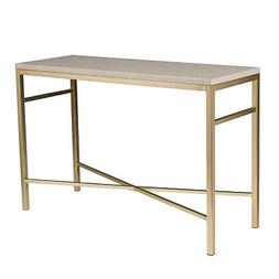 Orinda Faux Stone Console Table with Travertine