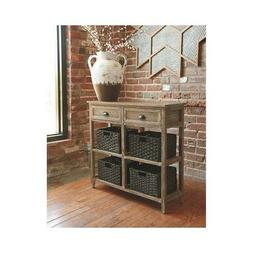 Signature Design by Ashley Oslember Light Brown Wood Console