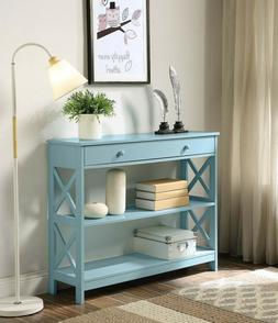 oxford console accent hall table drawer shelves