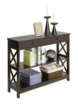 Oxford Console Accent Hall Table with Drawer and Shelves BRO