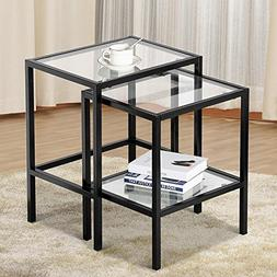 Yaheetech Pair of Modern Glass Nesting Tables Black Metal Fr