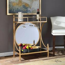"PRESLEY BAR CONSOLE 43"" WINE RACK TABLE BLACK GLASS ROUND MI"