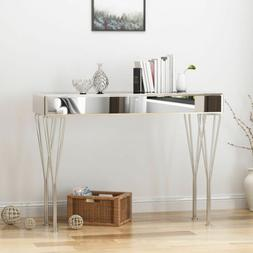 Quennel Modern Glam Mirrored Console Table, Silver