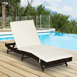 Outsunny Adjustable Pool Rattan Chaise Lounge Chair Patio Wi