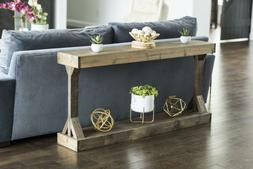 Rectangle Large Console Table Solid Wood Entryway Living Roo