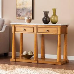 Rectangle Marble Sofa/ Console Entryway Table With Two Drawe
