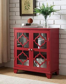 Kings Brand Furniture Red Finish Wood Buffet Cabinet Console