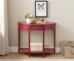 Kings Brand Furniture Red Finish Wood Half Round Console Sof