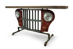 red jeep grille console accent table iron