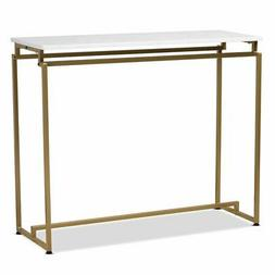 Baxton Studio Renzo Brushed Gold Metal Console Table with Fa