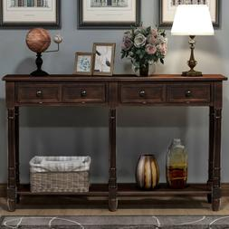 Retro Console Table Sofa Table for Entryway w/Drawers and Sh