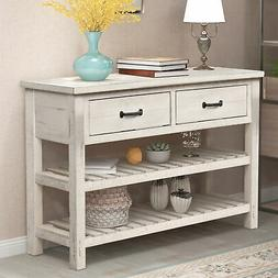 Retro Console Table with Drawers and Shelf Living Room Furni