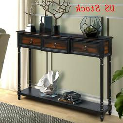 Retro Rectangular Console Table Sofa Desk Storage with Drawe