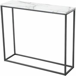 Roomfitters Sofa Console Table Marble Print Top Metal Frame