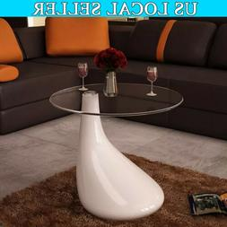 Round Coffee Tray Side Sofa Table Glass Top Room Console Sta