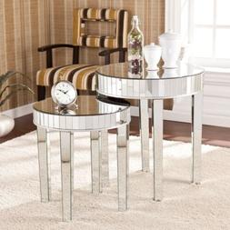 Round Mirrored Nesting Accent Table 2 Piece Set Coffee Conso