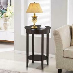 Yaheetech Round Sofa Side End Table with Drawer Wood Beside