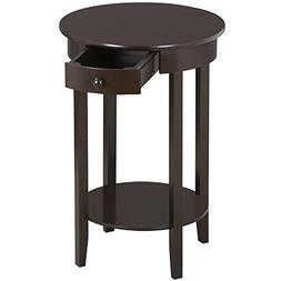 Topeakmart Wood Round Sofa Side End Tables/Accent Table with