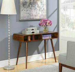 Rounded Mid Century Console Table Retro Wood Storage Display