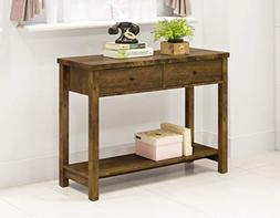 Rustic Amber Finish 2-Tier Console Sofa Accent Table Shelf w
