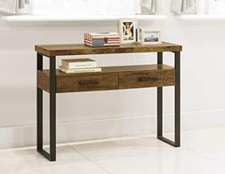 Rustic Amber Finish Metal Frame Console Sofa Accent Table Sh