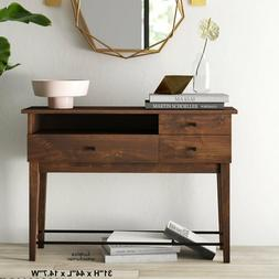 Rustic Brown Console Table Open Shelf 2 Drawer New Retro Ent