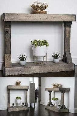 Rustic Console Accent Table Distressed Gray Display Solid Wo