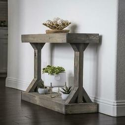 Rustic Console Accent Table Solid Wood Distressed Gray Displ