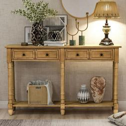 Rustic Console Table Sofa Side Entryway Table With 2 Drawer