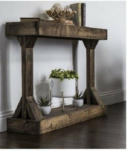 Console Table Wood Rustic Accent Hallway Cabin Country Shabb