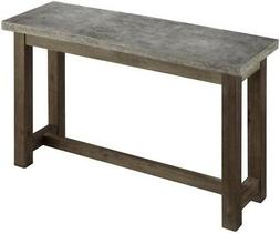 Rustic Industrial Concrete Console Table Sturdy Narrow Buffe