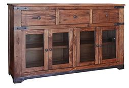 "Rustic Jacob 70"" Console TV Stand Buffet Real Solid Wood Wes"