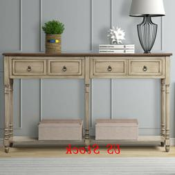 Rustic Rectangular Console Table Storage Rack Cabinet with 2