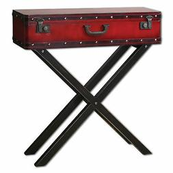 Rustic Red Trunk Storage Console Table | Antiqued Suitcase S