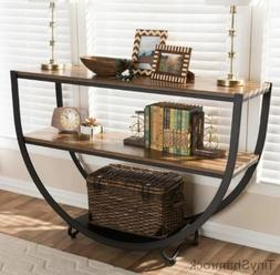 Rustic Style Console Table Sofa Entry Metal Wood Modern Cont