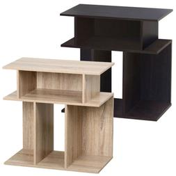 Rustice Accent Side Table Book Storage Display Shelves Sofa