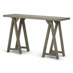 Simpli Home Sawhorse Console Sofa Table, Distressed Grey