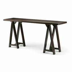 Simpli Home Sawhorse Solid Wood Wide Console Sofa Table, Dar