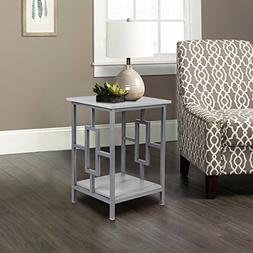 GIA Side End Table - Oak Color - Gray Frame - Sofa Height -