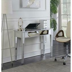 Silver-Mirror Console Table Accent Desk with Storage Drawer