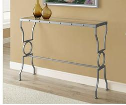Silver Sofa Table Console Modern Accent Entryway Glass Top M