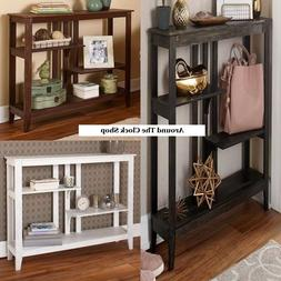 Slim Brushed Metallic Console Tables w/ Display Shelves in W