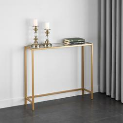Slim Console Table Entryway Sofa Gold Modern Narrow Glass Sm
