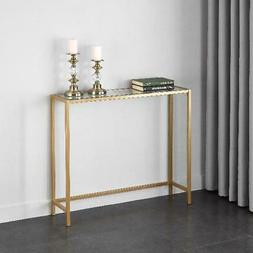 slim console table modern glass and gold