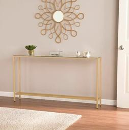slim console table narrow long mirrored top