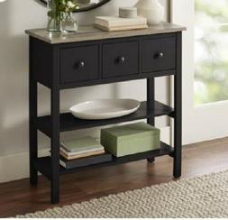 Small Black Console Table Drawers Kitchen Wooden Office Entr