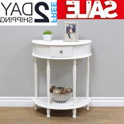 Small Entryway Table Console Hallway With Shelf Drawers Whit