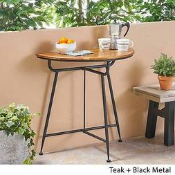 Small Half Round Console Table Iron Solid Wood Top Black Nat