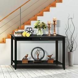 2-Tier Sofa Console Table with Drawer and Bottom Shelf for L