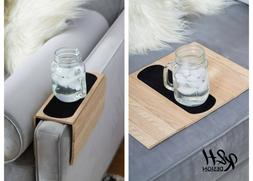 Kleeger Sofa Arm Tray Table: Wood Side Table Tray| Flexible,